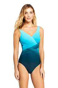 Women's Slender Wrap One Piece Swimsuit with Tummy Control Print