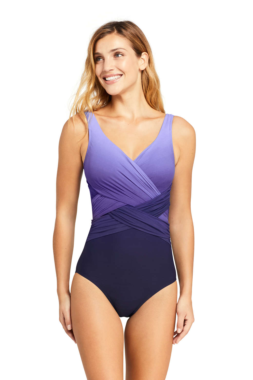 a76d6900c3f Women s Slender Wrap One Piece Swimsuit with Tummy Control Print from  Lands  End