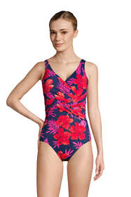 Women's Long Slender Tummy Control Chlorine Resistant V-neck Wrap One Piece Swimsuit Print