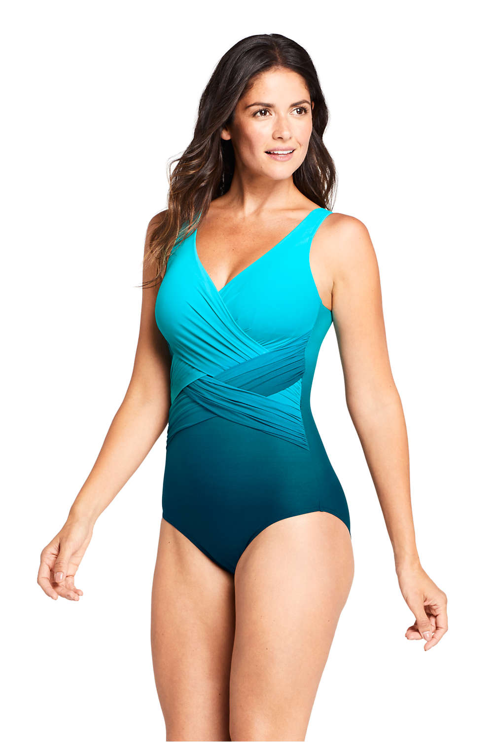 7843957e8 Women's Slender Wrap One Piece Swimsuit with Tummy Control Print from  Lands' End