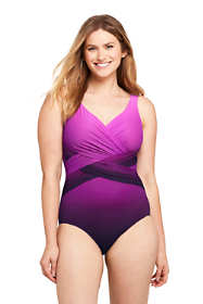 Women's Slender Tummy Control Chlorine Resistant V-neck Wrap Sexy One Piece Swimsuit Print