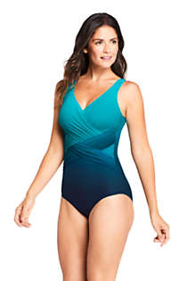 Women's DD-Cup Slender Tummy Control Chlorine Resistant V-neck Wrap One Piece Swimsuit Print, Front