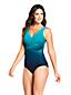 Women's Wrap Front Slender Swimsuit, Pattern - D Cup
