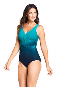 Women's Slender Tummy Control Chlorine Resistant V-neck Wrap One Piece Swimsuit Print