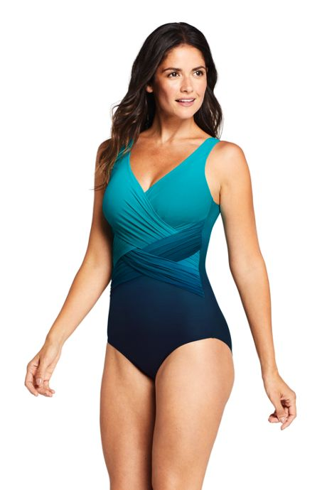 Women's Long Slender Tummy Control Chlorine Resistant V-neck Wrap One Piece Swimsuit Print