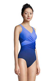 Women's D-Cup Slender Tummy Control Chlorine Resistant V-neck Wrap One Piece Swimsuit Print, alternative image
