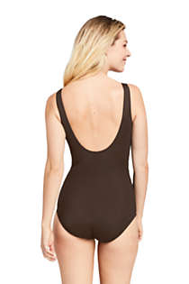 Women's Slender Draped Square Neck One Piece Swimsuit with Tummy Control, Back
