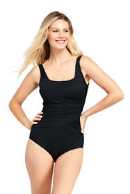 Women's D-Cup Slender Draped Square Neck One Piece Swimsuit with Tummy Control
