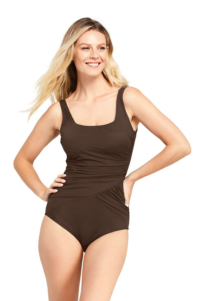 Women's Slender Draped Square Neck One Piece Swimsuit with Tummy Control, Front