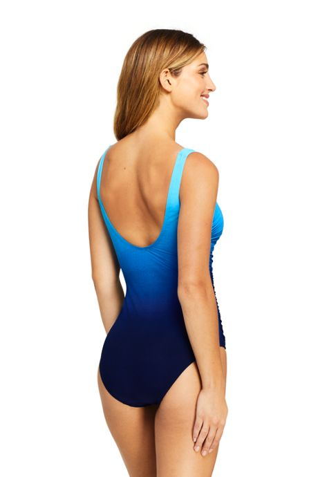 Women's Slender Draped Square Neck One Piece Swimsuit with Tummy Control Print