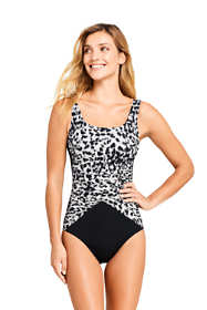 Women's DD-Cup Slender Draped Square Neck One Piece Swimsuit with Tummy Control Print