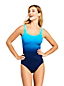 Women's DD-Cup Slender Print Square Neck Wrap Front Swimsuit