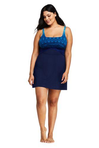 Women\'s Plus Size Slender Draped Underwire Swim Dress One Piece Swimsuit  with Tummy Control Print