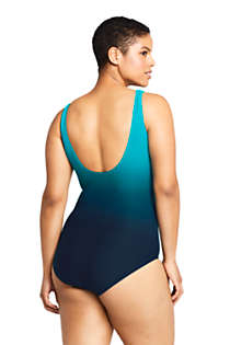 Women's Plus Size DDD-Cup Slender Tummy Control Chlorine Resistant Wrap One Piece Swimsuit, Back