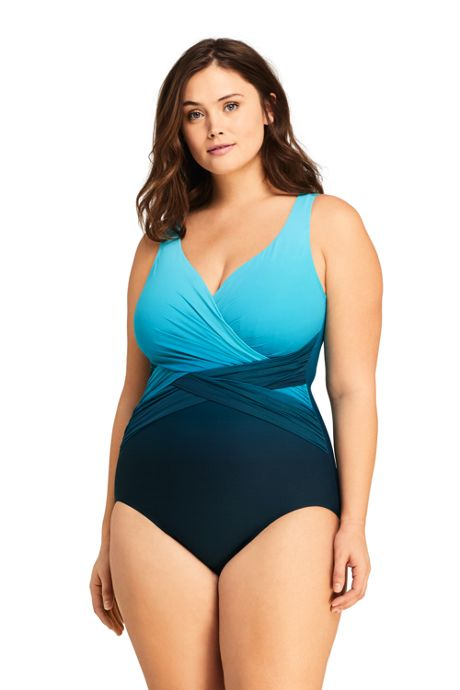 Women's Plus Size Slender Tummy Control Chlorine Resistant V-neck Wrap Sexy One Piece Swimsuit Print