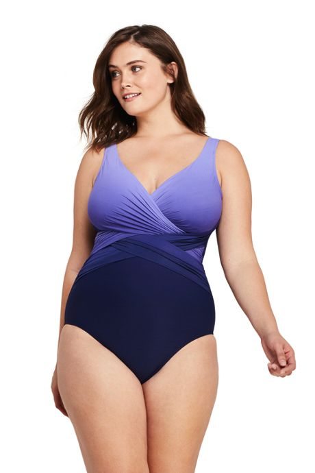 Women's Plus Size Slender Tummy Control Chlorine Resistant V-neck Wrap One Piece Swimsuit Print