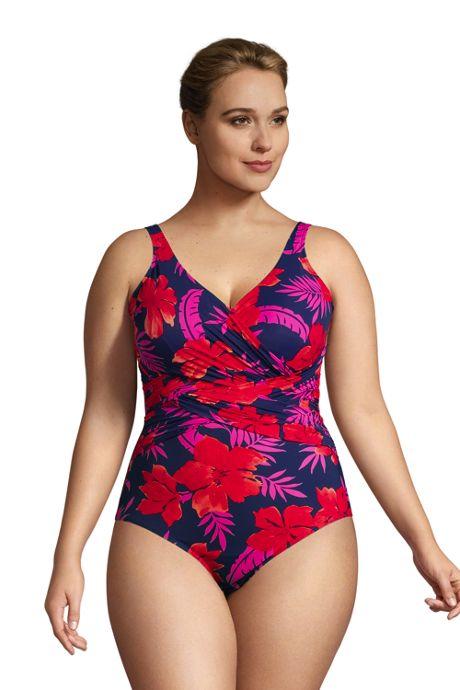 Women's Plus Size Slender Tummy Control Chlorine Resistant V-neck Wrap One Piece Swimsuit Print