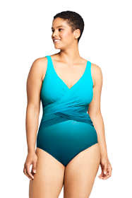 Women's Plus Size Slender Wrap One Piece Swimsuit with Tummy Control Print