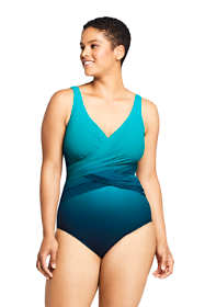 Women's Plus Size DD-Cup Slender Tummy Control Chlorine Resistant Wrap One Piece Swimsuit