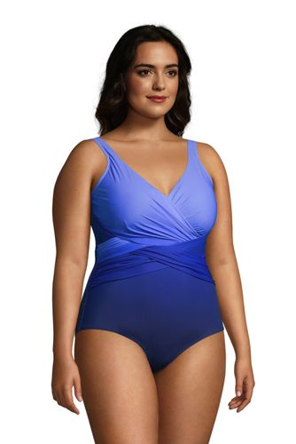 Women's Plus Size DDD-Cup Slender Tummy Control Chlorine Resistant Wrap One Piece Swimsuit