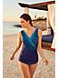 Women's Slender Print Wrap Front Tunic Swimsuit