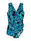 Women's Wrap Front Tunic Slender Swimsuit, Pattern - D Cup
