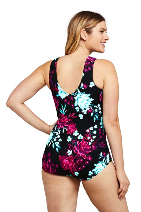 Women's DD-Cup Slender Surplice Wrap Tummy Control Chlorine Resistant Skirted One Piece Swimsuit