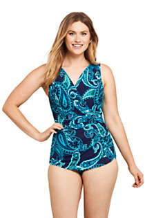 Women's Petite Slender Surplice Wrap Tummy Control Chlorine Resistant Skirted One Piece Swimsuit, Front