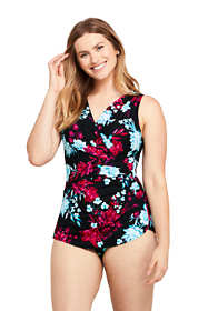 Women's Slender Surplice Wrap Tummy Control Chlorine Resistant Skirted One Piece Swimsuit Print