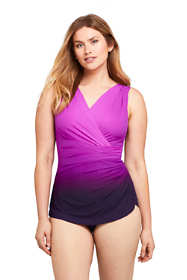 Women's D-Cup Slender Surplice Wrap Tummy Control Chlorine Resistant Skirted One Piece Swimsuit
