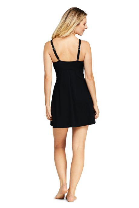 Women's Slender Underwire Draped Squareneck Swimdress