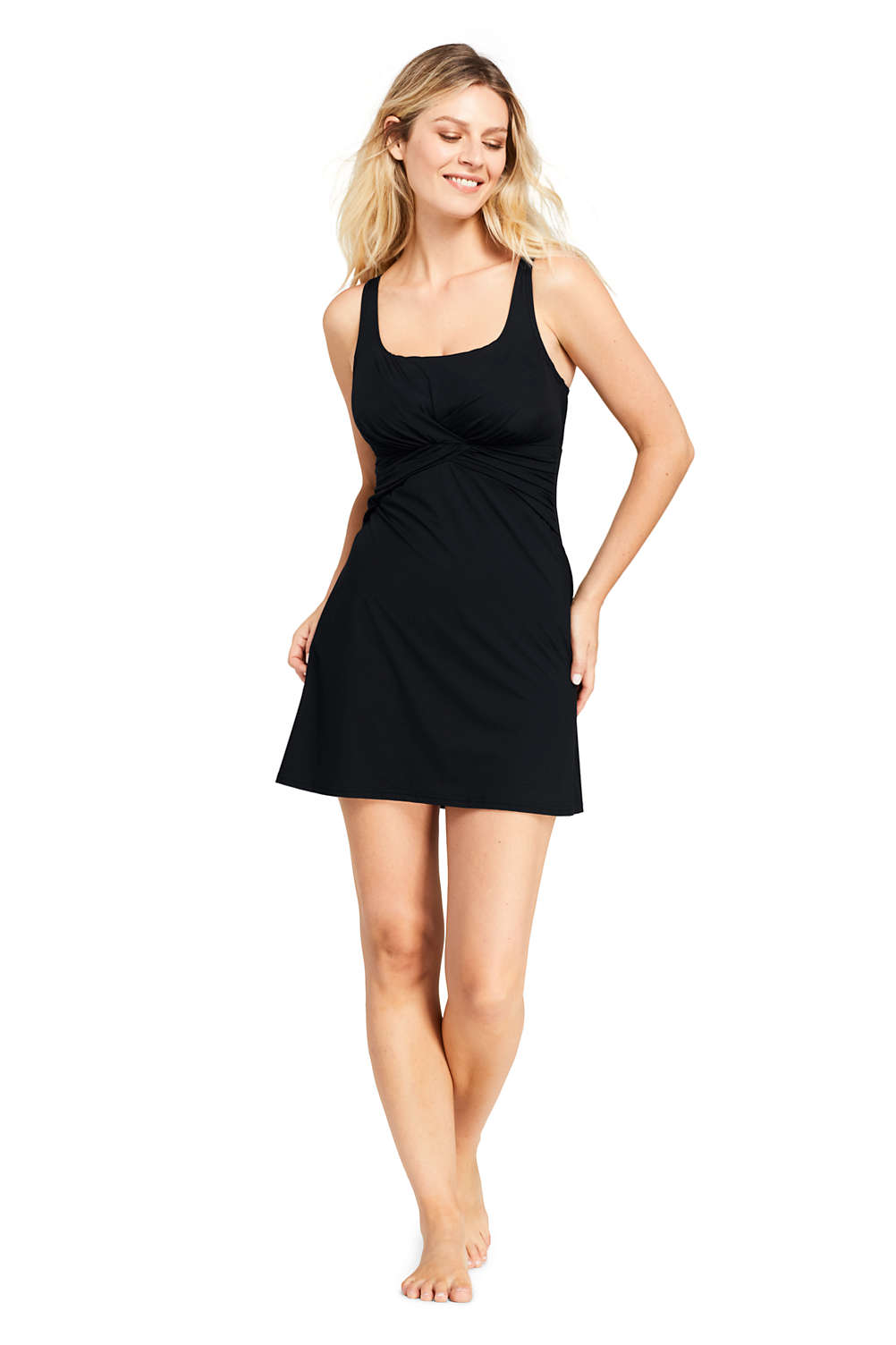 b35ed4e41df Women s Slender Draped Square Neck Underwire Swimdress with Tummy Control  from Lands  End