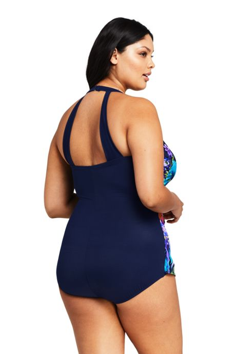 Women's Plus Size DD-Cup Slender Tunic One Piece Swimsuit with Tummy Control Print
