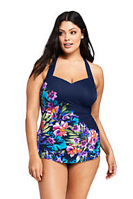e9adbfc46347a Women s Plus Size Slender Tunic One Piece Swimsuit with Tummy Control Print