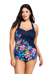 Women's Plus Size Long Slender Tunic One Piece Swimsuit with Tummy Control Print