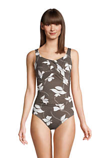 Women's Slender Carmela Tummy Control Chlorine Resistant Scoop Neck One Piece Swimsuit, Front