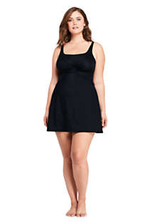 Women's Plus Size Slender Tummy Control Chlorine Resistant Underwire Swim Dress One Piece Swimsuit , Front