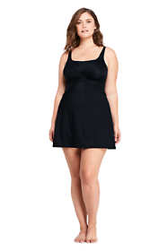 Women's Plus Size Slender Draped Square Neck Underwire Swimdress with Tummy Control