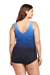 Women's Plus Size Slender Surplice Wrap Tummy Control Chlorine Resistant Skirted One Piece Swimsuit, Back
