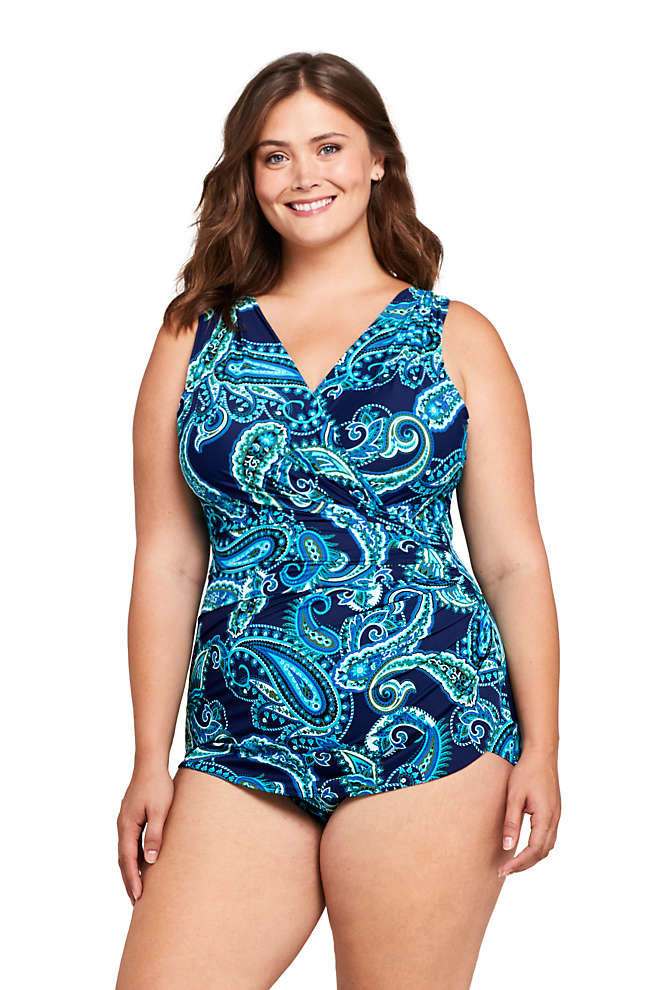 Women's Plus Size DD-Cup Slender Wrap Tummy Control Chlorine Resistant Skirted One Piece Swimsuit, Front