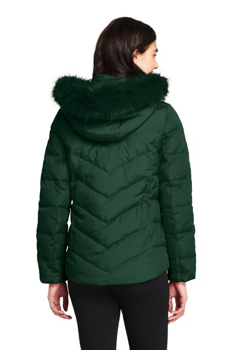 Women's Down Puffer Jacket With Faux Fur Hood