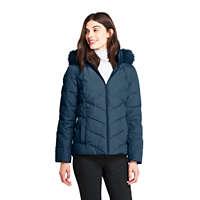 LandsEnd.com deals on Lands End Women's Down Puffer Jacket W/Faux Fur Hood