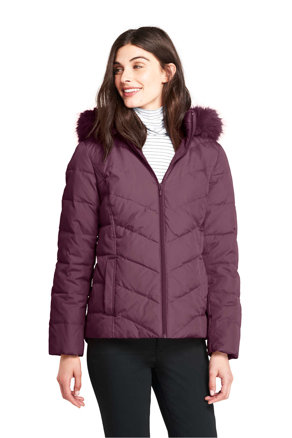 dad0c2e79f02 Women s Down Puffer Jacket With Faux Fur Hood from Lands  End
