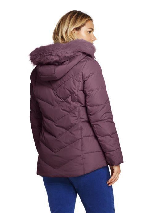 Women's Plus Size Down Puffer Jacket With Faux Fur Hood