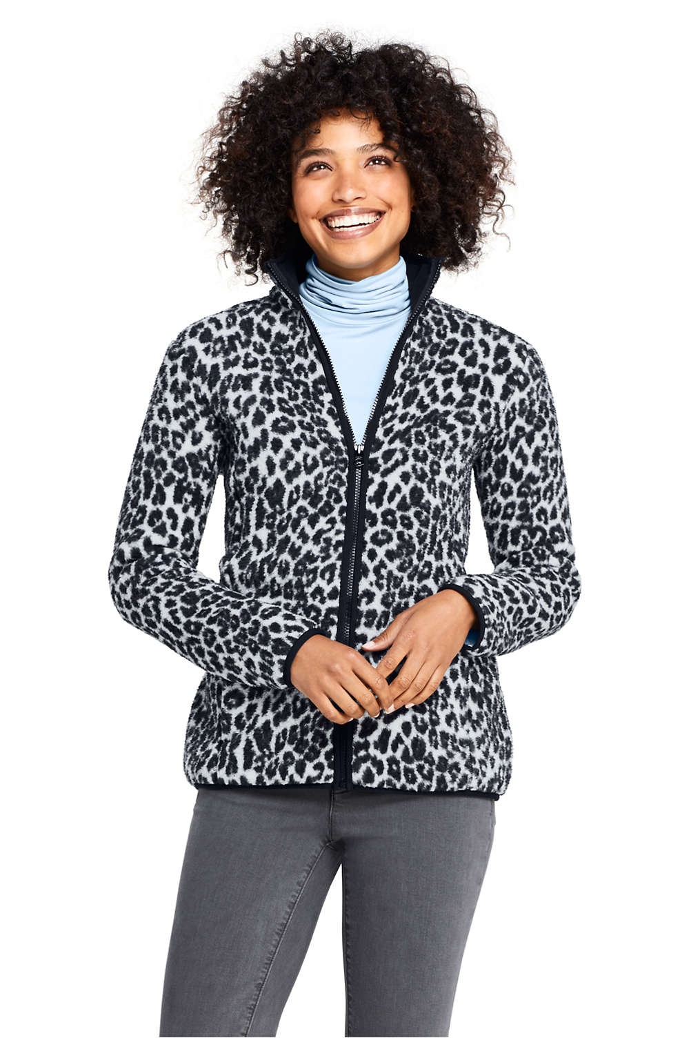 fae27d5a986 Women's Print Cozy Sherpa Fleece Jacket from Lands' End