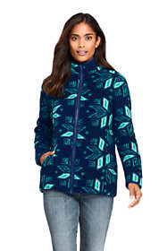 Women's Petite Print Cozy Sherpa Fleece Jacket