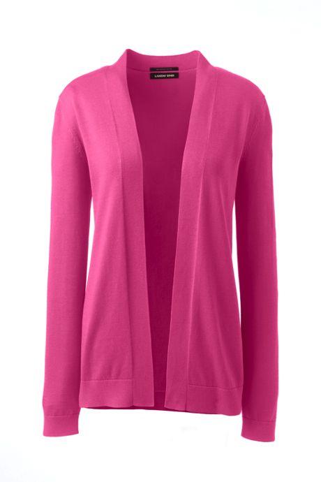 Women's Plus Size Long Sleeve Supima Open Cardigan Sweater