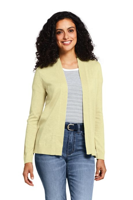 Women's Tall Supima Cotton Long Sleeve Open Cardigan Sweater