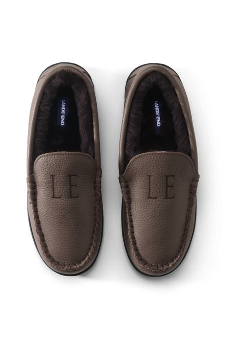 Men's Leather Shearling Fur Moccasin Slippers