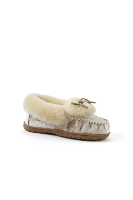Women's Velvet Shearling Moccasin Slippers
